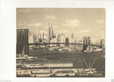 "Old 1950's Brooklyn Bridge New York City 7""x 9"" Jumbo Postcard, Unused! http://stores.ebay.com/bhtresures-internet-store"