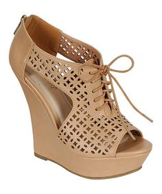 Take a look at the Bamboo Nude Laser Cutout Dreamer Peep-Toe Wedge on #zulily today!