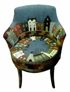 Chair by By Rustique InteriorsCityscape Chairs by Rustique, Applique Village Barrel ChairChair upholstered with wool appliqué houses!In regard to repurposed home furnishings!, let's explore some home furnishings which could be considered new lease o Funky Furniture, Upcycled Furniture, Unique Furniture, Furniture Makeover, Painted Furniture, Furniture Design, Furniture Stores, Furniture Dolly, Furniture Chairs