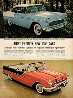 "1954 New 1955 Chevrolet Pontiac Cars Original Car and Truck Print Ad -An original vintage 1954 advertisement, not a reproduction -Measures approximately 10"" x 13"" to 11"" x 14"" -Ready for matting and f"