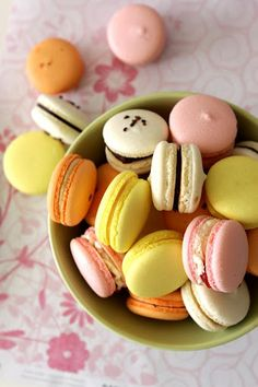 Assorted macarons: rose-lychee-raspberry, tropical fruit, salted caramel, gianduja, and milk choc passion fruit