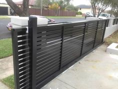 brick wooden fence and electric gates - Google Search