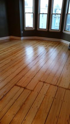 We refinished antique Pine hardwood floors in Cambridge, MA. Check out this cool vintage look!
