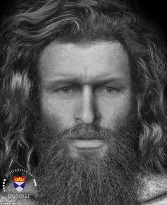Researchers have reconstructed the face of a  Pictish man. He had long wavy hair with a thick Viking beard and mild blotches around his face. The man was killed 1,400 years ago with five blows to the head, including one which saw a weapon driven all the way through his skull. The well-preserved bones were analysed by forensic anthropologists at Dundee University