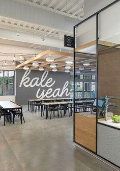 canopy extendin | office cafeteria | office cafe ideas | office designs | #modernoffices #officedesign #officecafeteria #cafeteriadesign | www.ironageoffice.com g over reception #officedesignsideas