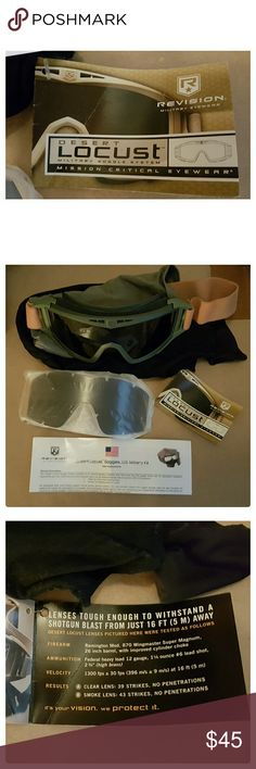 SALERevision Military Goggle System NWOT Brand new, never used. Army issued. See pics for details. Myltiple uses, skiing, motorbikes etc. Balistic lenses.  Goggles comes with case, cleaning cloth, instructions, extra black and clear interchangeable lenses. Brand: Revision. Revision Accessories Glasses