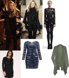 On Serena: Emilio Pucci Pre-Fall 2010 Embellished Sheer Dress, Emilio Pucci Fall 2010 Fringe Blazer