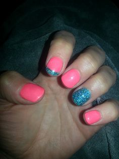 my Pink and turquoise nails #sephoranailspotting