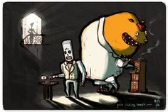 Manny Calavera and Glottis - Grim Fandango (1998)  Absolutely one of my favorite games. The atmosphere, the music, the story.  Everything was just amazing.  Buy a print of this here.