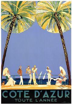Vintage Travel Poster - Cote d'Azur - by Jean-Gabriel Domergue. Vintage French Posters, Vintage Travel Posters, French Vintage, French Art, French Beach, Posters Uk, Art Deco Posters, Poster Prints, Art Prints