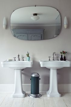 Double Sinks in a London bathroom, as seen in Remodelista: A Manual for the Considered Home...
