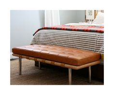 The Barcelona Bench is a classic Mid-Century Modern piece from the Barcelona series from Mies van der Rohe. Rove Concepts' reproductions are in tune with the original design specifications and excel in both material quality and craftsmanship. Leather Bench, Leather Ottoman, Barcelona Bench, House Tweaking, Hotel Collection Bedding, Luxury Bedding, Modern Bedding, Villa, Yellow Bedding