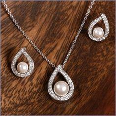 Ella CZ Teardrop and Pearl Bridal Jewelry Set