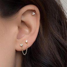 Diamond Earrings / Diamond Studs in Gold / Evil Eye Diamond Earrings / Evil Eye Jewelry / Gold Jewelry / Gift for Her - Fine Jewelry Ideas Emerald Earrings, Chain Earrings, Cute Earrings, Gold Hoop Earrings, Crystal Earrings, Crystal Jewelry, Stud Earring, Tassel Earrings, Double Earrings