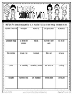 """Someone Who """"Find Someone Who"""" is the best ice breaker activity! Check out this **FREE** version for middle school students :)""""Find Someone Who"""" is the best ice breaker activity! Check out this **FREE** version for middle school students :) Fun Icebreakers, Icebreaker Activities, Fun Classroom Activities, Team Bonding Activities, Social Work Activities, Leadership Activities, Camping Activities, Teaching Strategies, First Day Of School Activities"""