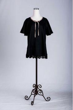 Swing sleeves, lace trim hemline, bow neckline detail