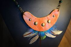 Tan leather and feather necklace