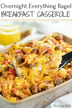 Recipes Breakfast Bagel This easy make-ahead breakfast is loaded with delicious bites of everything bagels baked in a flavorful egg scramble with sausage, peppers, and a three-cheese combination. Best Breakfast Casserole, Breakfast Bagel, Make Ahead Breakfast, Sausage Breakfast, Breakfast Dishes, Overnight Breakfast, Breakfast Potatoes, Breakfast Burritos, Breakfast Recipes