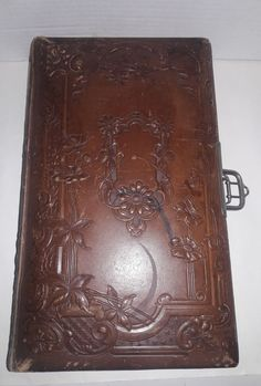 Antique German Embossed Leather Photo Album with 73 Pictures -Early 1900s