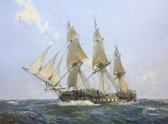 """Geoff Hunt Print - """"U.S.S. United States"""" From Geoff Hunt's spectacular series of prints depicting dramatic naval actions associated with the War of Independence and the War of 1812. The U.S.S. United States was a 44 Gun Heavy Frigate. The first of the American super-frigates, completed at Philadelphia in 1797 to designs by Joshua Humphreys, this powerful ship could carry over 50 guns. -- on ScrimshawGallery.com #GeoffHunt"""