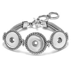 """Ginger Snaps 3 Snap Multi Chain Bracelet Create your own interchangeable jewelry with Ginger Snaps Accessories. 7""""-8.5"""" adjustable length."""