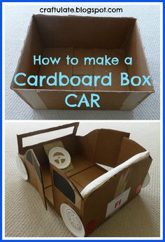 Cardboard Box Car      Here is F trying to climb into the box before I've even started work on the car.    To make the car, first I cut off the box flaps.    Then I penciled in the front shape of the car on one side, and cut along this line with a craft knife. I was using a sturdy double-walled box so it took a little time! I left the front part of the box uncut to make the windshield/windscreen.  Then