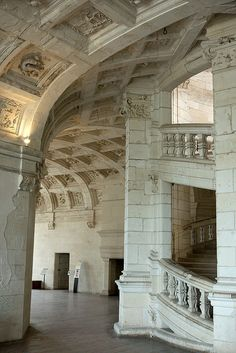 Beside the double spiral staircase at Château de Chambord, designed by Leonardo da Vinci;  photo by zoreil, via Flickr