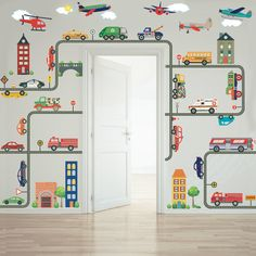 Cars, trucks, EMS vehicles, road and busy town removable fabric wall decals. Your kids will enjoy creating their own unique busy transportation town mural. Tan House, Transportation Theme, Boy Room, Child's Room, Wall Stickers, Kids Wall Decals, Mural Wall, Wall Art, Kids Bedroom