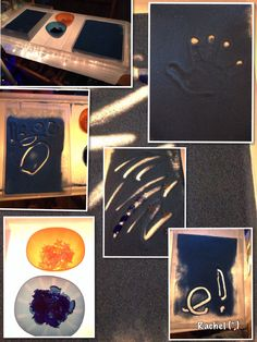 """Mark Making in Sand on the Home-Made Light Box - from Rachel ("""",)"""