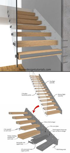 Staircases are a lot of fun. That is, even though the design process is strictly regulated by the building code, it can be the perfect opportunity to flex your creative muscles. But how exactly do you design a cantilevered staircase? How do the stairs stay in place? And what do you need to take into consideration during the design phase? #design #construction #architecture #floating #stairs #staircase #fixing #detail #cantilevered #drawing Timber Cladding, Cladding Panels, Staircase Design, Stair Design, Oak Handrail, Cantilever Stairs, Stair Detail, Floating Staircase, Masonry Wall