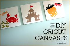easy, inexpensive, and quick wall decor. make templates with cricut, trace onto a canvas, and paint with acrylic. | VanillaJoy.com