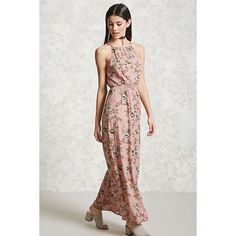 Forever21 Floral High Neck Maxi Dress ($20) ❤ liked on Polyvore featuring dresses, high neck floral dress, elastic waist dress, viscose maxi dress, rayon dress and keyhole maxi dress