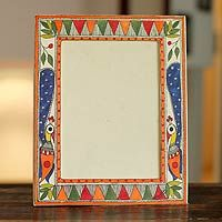Madhubani photo frame, 'Indian Peacock' (5x7) from @NOVICA, They help #artisans succeed worldwide.