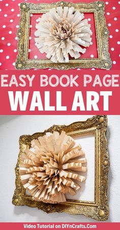 Create this stunning book page paper flower wall art with a few craft supplies! An ornate wreath frames a paper fan flower that is beautiful on any wall! This is a great 30-minute craft project that is ideal for home decor on a budget! #OldBookPageCraft #WallArt #DIY #BudgetDecor #HomeDecor Paper Flower Wreaths, Paper Flower Wall, Paper Flowers, Easy Paper Crafts, Crafts To Make, Book Page Wreath, Book Page Crafts, Paper Vase, Frame Wreath