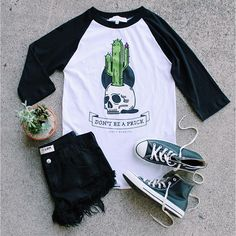 Kicking back in the Don't Be A Prick Raglan- now off 🌵 Date Outfits, Fashion Outfits, School Outfits, Indie, Gypsy Warrior, Shorts Jeans, Hipster, Punk, Kawaii