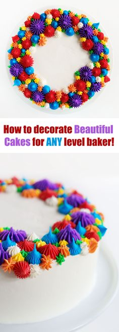 Rainbow Open Star Tip Cake - iambaker.  Amanda does cakes we can all do.  I love her ideas.