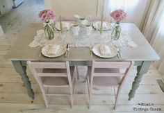 French Linen on table Antoinette on chairs Mimi's Vintage Charm...: Antoinette Dining Room Chairs