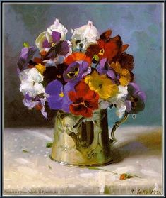 Lake: Pansies in a silver creamer // Randall Lake travelled to Europe to hone his art and it was in France that he discovered Mormonism. He eventually settled in Utah, which has been his home since 1973 Acrylic Flowers, Oil Painting Flowers, Watercolor Flowers, Watercolor Art, Art Floral, Still Life Flowers, Lake Art, Still Life Art, Fruit Art