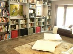 Living Room with built in booksheves