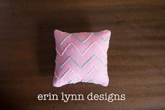Chevron Hand Embroidered Pin Cushion in Pink, Mint and White on Etsy, $18.00
