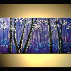 purple forest of blooming birch trees  horizontal