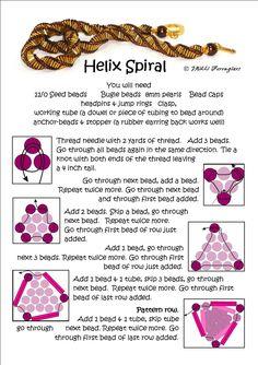 Best Seed Bead Jewelry 2017 Bead Mavens Helix Spiral with bugle Beads Seed Bead Tutorials Beading Patterns Free, Seed Bead Patterns, Beaded Jewelry Patterns, Beading Tutorials, Bracelet Patterns, Weaving Patterns, Beaded Beads, Bugle Beads, Beads And Wire