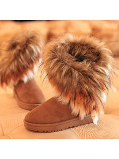 In The Tube Snow Boots Cotton Shoes Fox Fur We offer fashion dresses, tops,jeans,swimsuits, shoes, bodysuits, skirts and more with cheap  affordable prices. # #FlatBoots