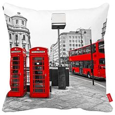 Cazzpc Cushion Cover Black and White London City Styel Retro Red Bus and Telephone Boxes Pattern Print Home Decor Size 45x45cm | shopswell