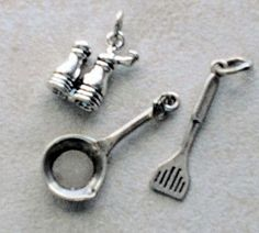 Sterling Silver Cooking Charms 3  Skillet Spatula Salt &
