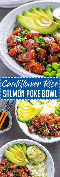 Cauliflower Rice Salmon Poke Bowl - Lean Green Nutrition Fiend - Atıştırmalıklar - Las recetas más prácticas y fáciles Salmon Recipes, Seafood Recipes, Asian Recipes, Cooking Recipes, Healthy Recipes, Cauliflower Recipes, Cauliflower Rice, Salmon Poke Bowl Recipe, Clean Eating Snacks