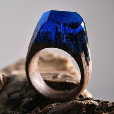 wood jewelry wooden ring casting resin blue forest