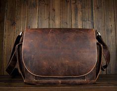 Handcrafted Leather Briefcase / Messenger / Laptop / Men's Bag in Dark Coffee
