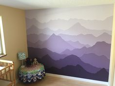 Baby room purple mountain (majesty) mural