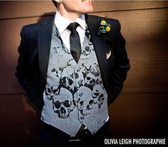Skeleton Wedding Dress   Kale bouquet, skull vest, and red boots   Offbeat Bride